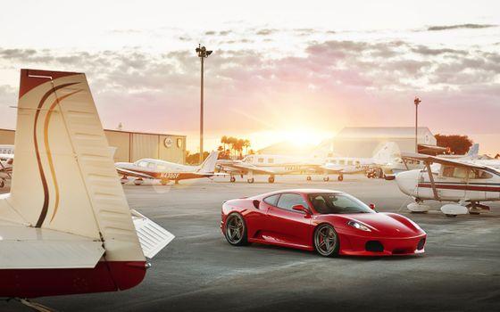Фото бесплатно ferrari 458, красная, аэродром