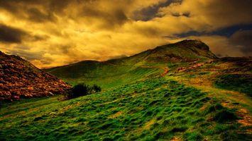 Фото бесплатно холм, трава, небо