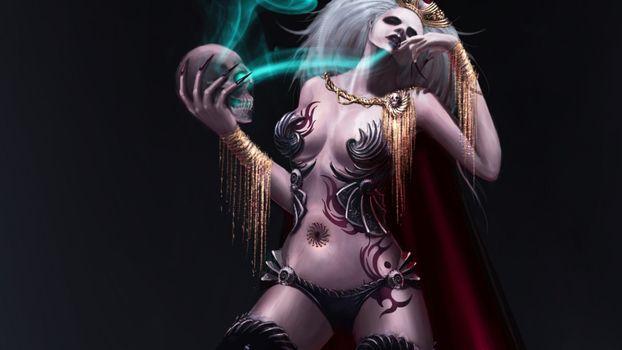 девушка, украшения, татуировки, колдунья, ведьма