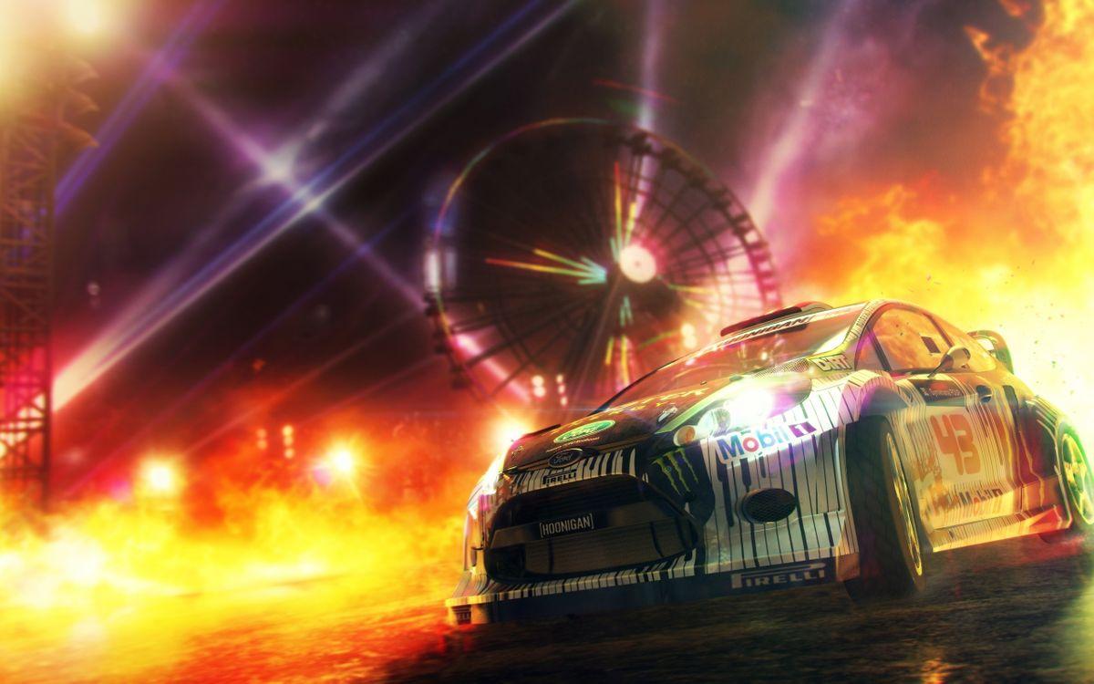 Фото бесплатно dirt3, game, игра, машина, ралли, ford, форд, фейерверк, игры, игры
