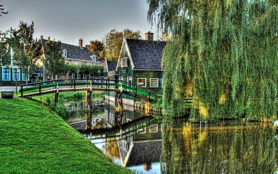 Photo free houses, wooden, bridge