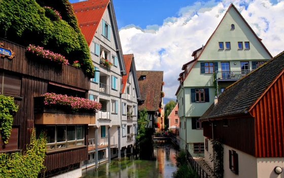 Photo free houses, water, river
