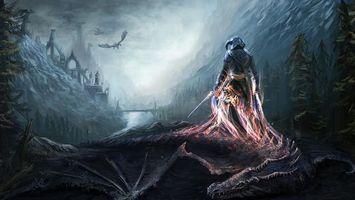 Бесплатные фото драконы,арт,skyrim,the elder scrolls v,dovahkiin,игры