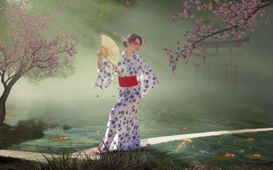 Бесплатные фото гейша,трава,веер,вода,халат,сакура,девушки