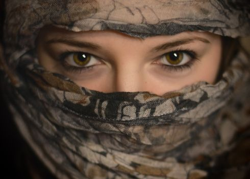 Бесплатные фото глаза,паранджа,взгляд,закрытое лицо,карые,блеск,брови,девушки