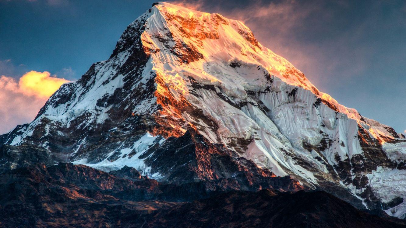 Фото бесплатно гора, стороны, солнце, свет, лучи, небо, тучи, снег, зима, мороз, холод, природа, природа