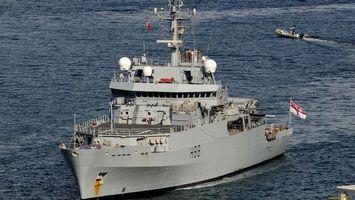 Заставки корабль, военный, море, волны, флаг, лодка, антенны, оружие