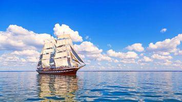 Заставки пейзажи, корабль, паруса