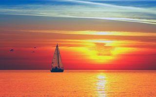 Обои море, закат, яхта, пейзажи