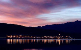 Бесплатные фото небо, облака, огни, море, океан, горы, город