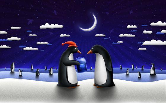 Фото бесплатно пингвины, картинка, рисунок, крылья, лапы, облака, север, мороз, медуза, животные