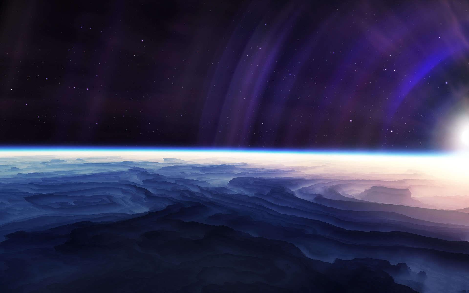 Обои планета, поверхность, тучи, облака