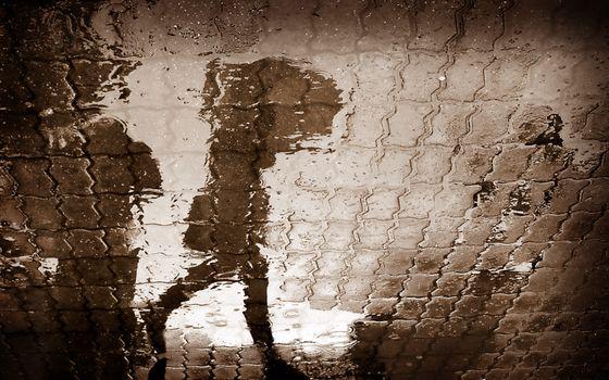 Бесплатные фото тратуар,каменная,кладка,дождь,вода,отражение,девушка,зонт,разное