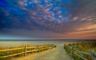 Бесплатные фото трава,ограда,песок,следы,горизонт,море,небо