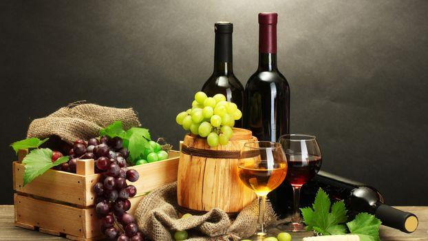 Photo free wine, grapes, glasses
