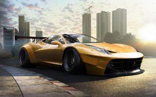 Бесплатные фото Ferrari 458,Sportcar,небоскрёбы,асфальт,солнце,деревья,облака