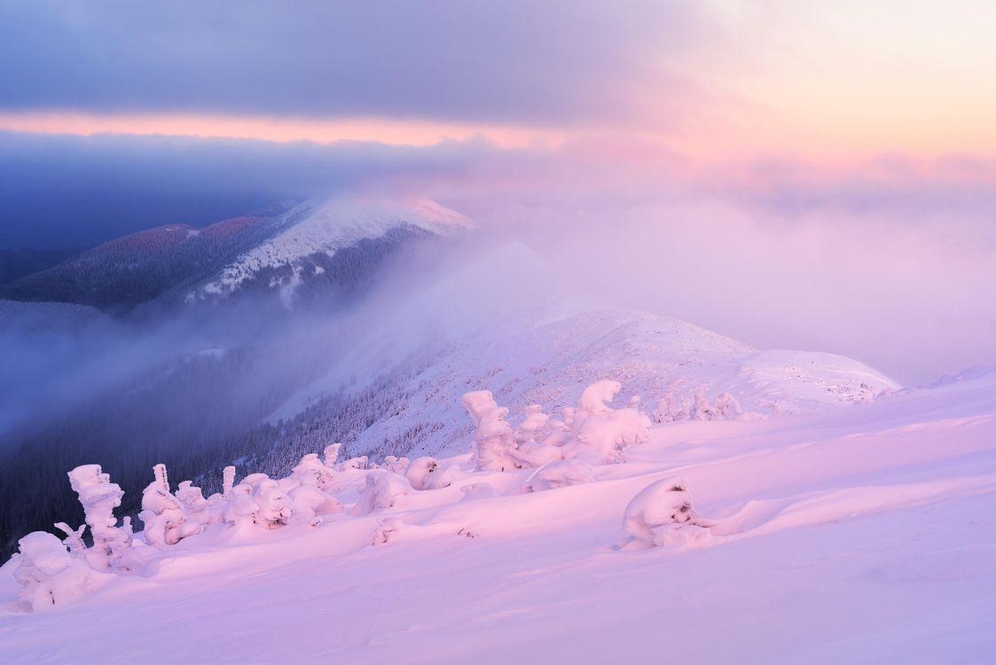 Фото бесплатно зима, закат, снег, сугробы, горы, деревья, пейзаж, пейзажи