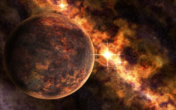 Бесплатные фото каменистая планета,звезды,туманность
