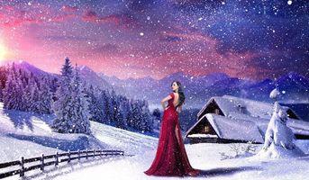 Обои закат, зима, снег, горы, дома, деревья, забор, девушка, art, пейзаж