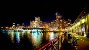 Фото бесплатно ночной городской пейзаж, берег, залив