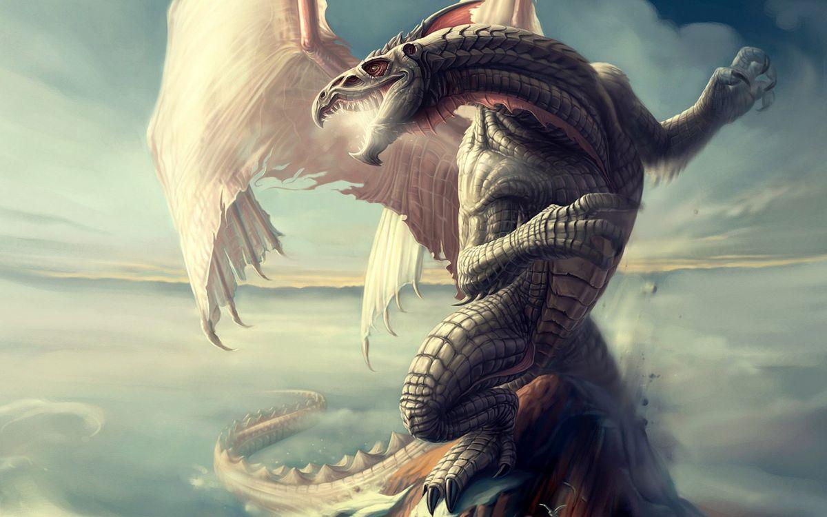Фото бесплатно дракон, пасть, зубы, крылья, лапы, когти, хвост, рендеринг