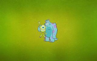 Бесплатные фото корпорация монстров,джеймс салливан,майк вазовски,рисунок,минимализм,фон зеленый