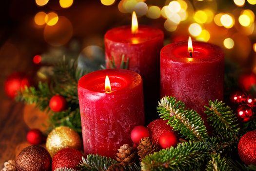 Фото бесплатно рождественские свечи, рождественские обои, Новый год