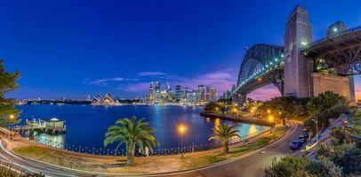 Обои Австралия, Сидней, мегаполис, мост, пальмы, река