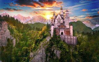 Бесплатные фото горы,деревья,скала,замок,башни,небо,закат