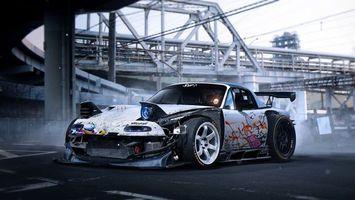 Бесплатные фото Mazda MX-5,тюнинг,асфальтная площадка,мост,дрэг-рейсинг,автомобиль