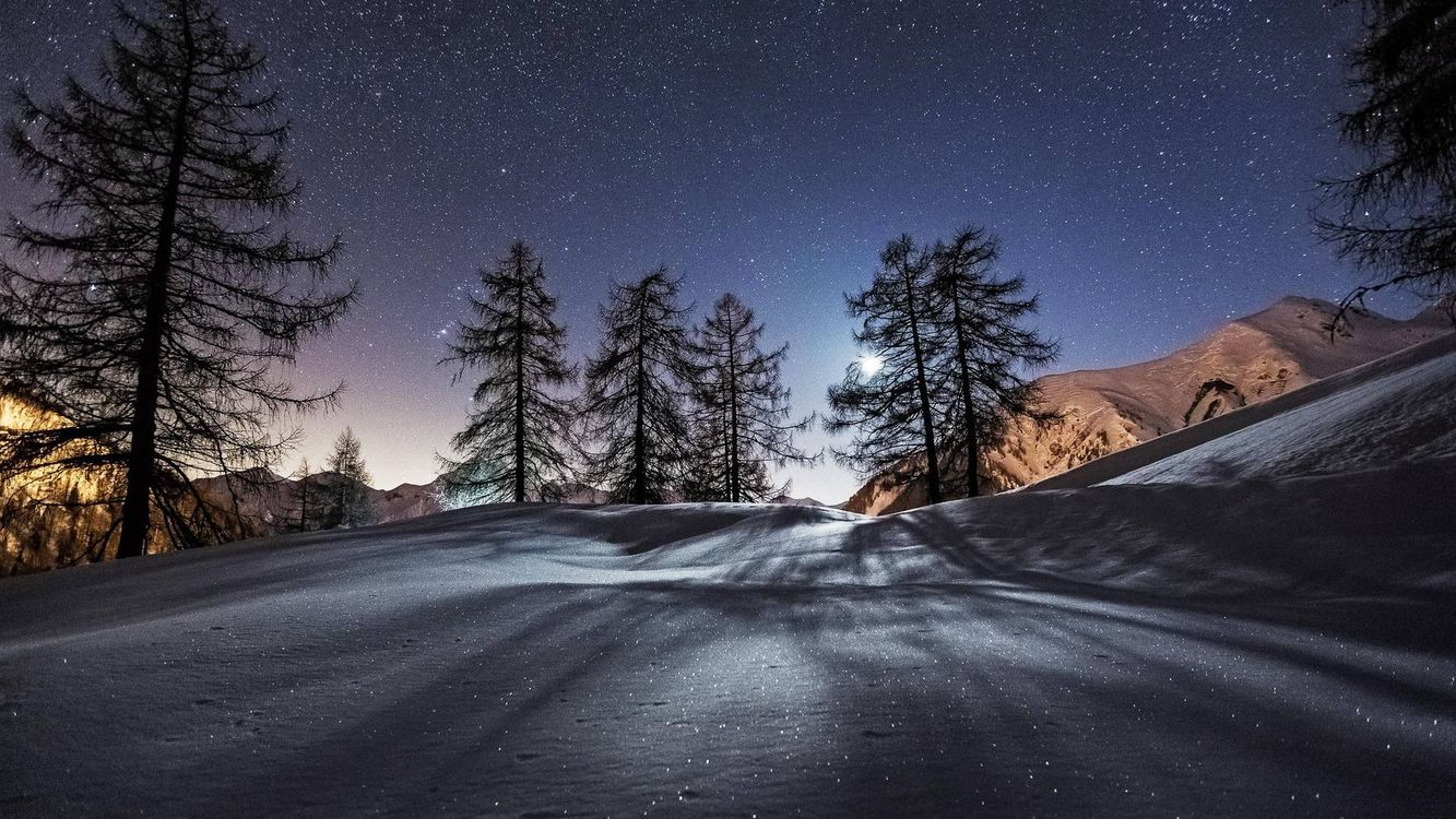Photos for free night, winter, mountains - to the desktop