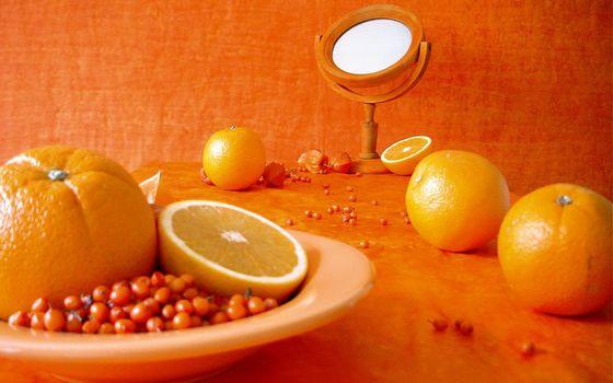 апельсины, оранжевый, тарелка, ягоды