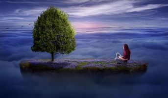Бесплатные фото небо,облака,летающий остров,девушка,фантастика