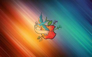 Бесплатные фото рисунок, яблоко, стрелы, птичка, лента, фон цветной