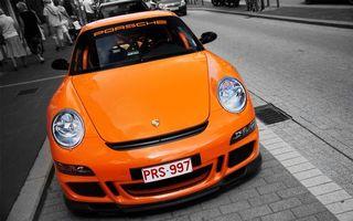 Бесплатные фото порше,оранжевая,фары,номер,стекло,надпись,улица