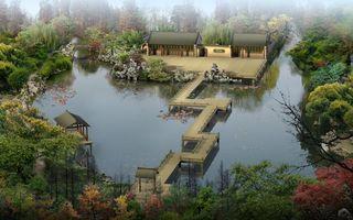 Бесплатные фото озеро,мостики,беседки,строение,растительность,ландшафтный дизайн