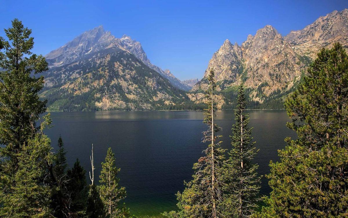 Фото бесплатно деревья, озеро, горы - на рабочий стол