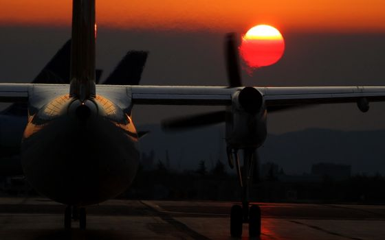 Photo free sunset, wings, airplane