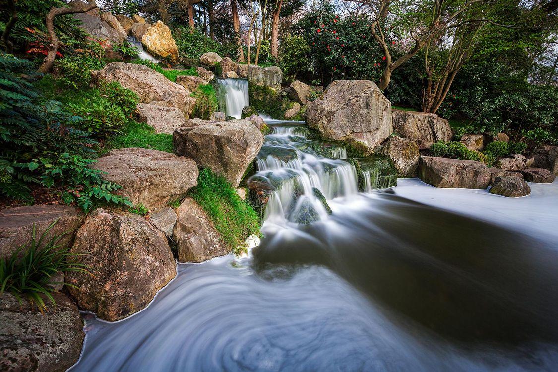 Фото бесплатно Лондон, Киото, Японский сад, Holland Park, Zen Garden, водоём, водопад, пейзаж, пейзажи