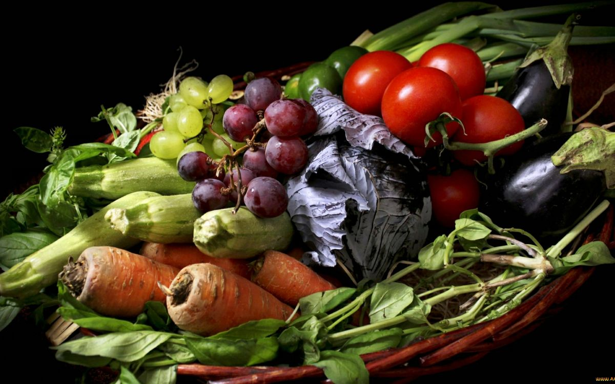 Фото бесплатно овощи, виноград, кабачки - на рабочий стол