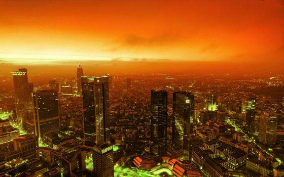 Фото бесплатно ночной город, красное небо, небоскребы