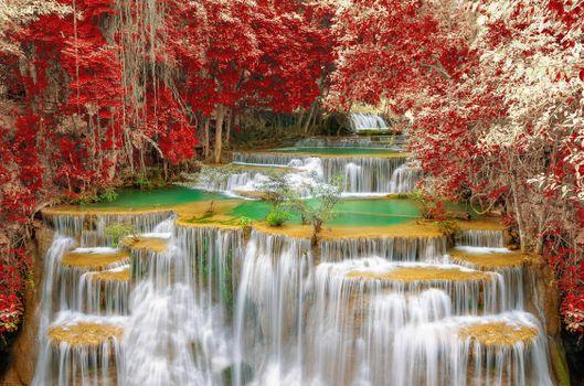 Бесплатные фото Kanchanaburi,Thailand,осень,водопад,каскад,деревья,природа