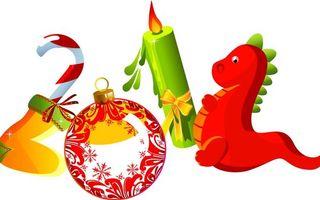 Обои новый год, цифры, дракон, 2012, свечка