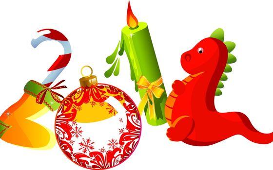 новый год, цифры, дракон, 2012, свечка