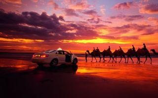 Бесплатные фото пустыня,облака,закат,караван,такси