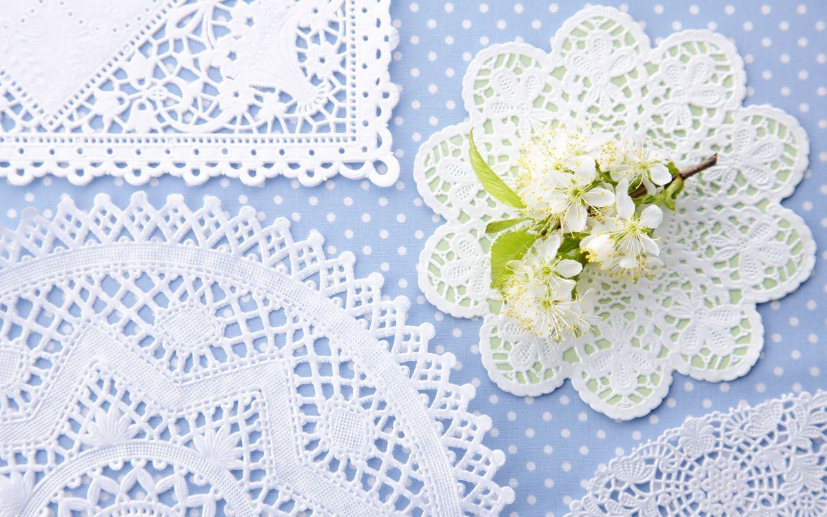 Фото бесплатно ажурные, в горошек, ветка, кружево, цветы, салфетки, разное