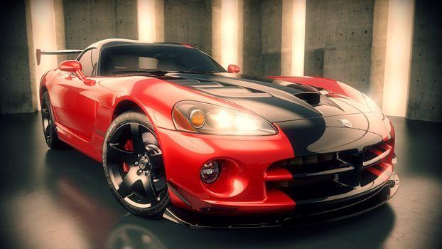 Фото бесплатно dodge viper, красный, длинный