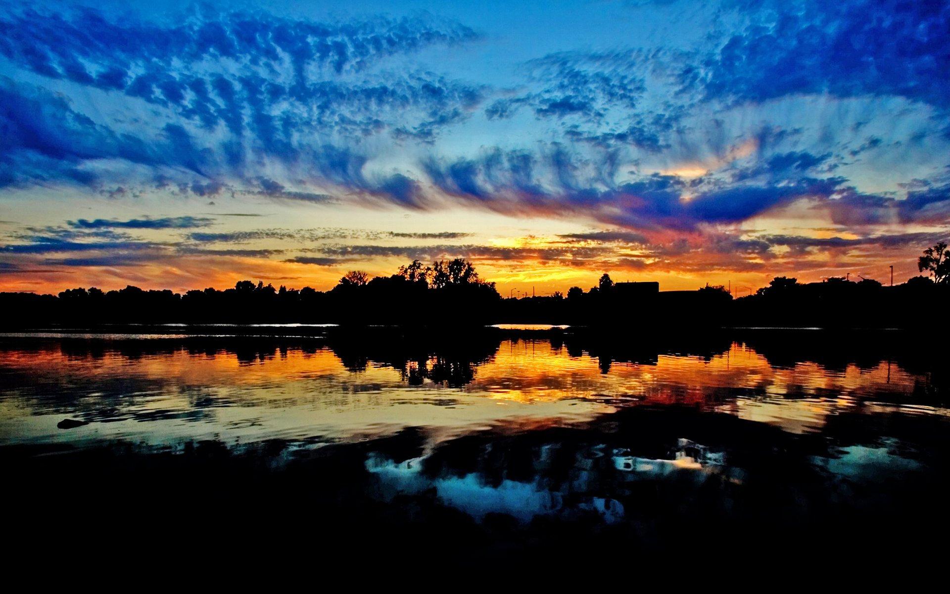 болото, солнце, облака