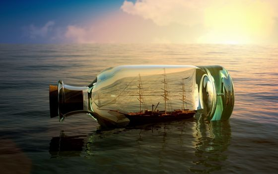 Бесплатные фото бутылка,пробка,карабль,море,горизонт,небо,разное