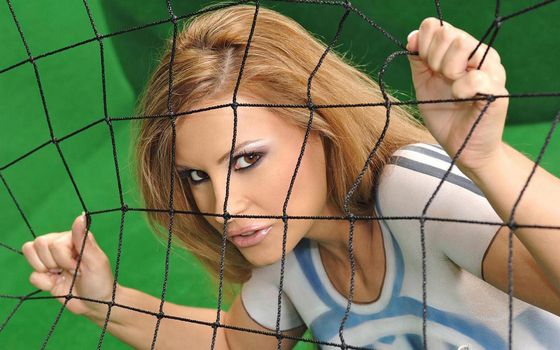 Бесплатные фото девушка,взгляд,макияж,брови,глаза,сетка,ворота,футболл,девушки